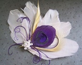 Purple, Ivory, Peacock Wedding, Hair Accessories, Feather Hair Piece, Hair facinator, Peacock, fascinator - IVORY BUTTERFLY