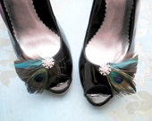 Peacock Feather Shoe Clips, Bridal clips, Wedding Shoe Accessory, Accessories, Peacock, Blue, Brown, teal, aqua - PEACOCK BROWN