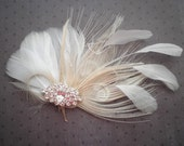 White, Ivory, weddings, facinator, Bridal, Hair, Accessories, Feather, Piece, Fascinator, Peacock, Bride, brides - WHITE PRINCESS