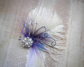 Ivory bridal, Feathered, Fascinator, Facinator, Head Piece, Feather, Hair Piece, Wedding, Accessories, Purple, Blue - IVORY PURPLE PASSION