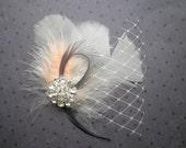 Bridal, feather, veil, fascinator, wedding, hair, accessories, feathered, clip, Ivory, Peach, Gray, Orange, facinator - PEACH PRETTY