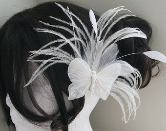 Wedding Hair Accessories, Bridal Fascinator Head Piece, Feather Hair PIece, wedding feather hair clip, white, butterfly - BRIDAL BUTTERFLY
