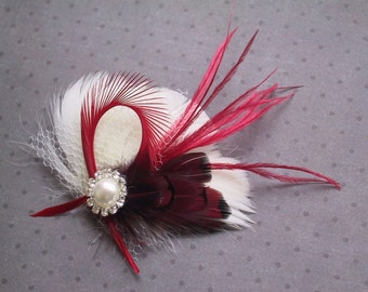 Holiday, Ivory, Bridal, Feather, Fascinator, Hair, PIece, Wedding, Accessory, red, clip, facinator, holiday, Accessories, bride - Peppermint