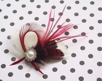 Holiday, Ivory, Feather, Fascinator, Hair, Wedding, Accessory, red, valentines day, clip, facinator, Accessories, bridal, bride -Peppermint