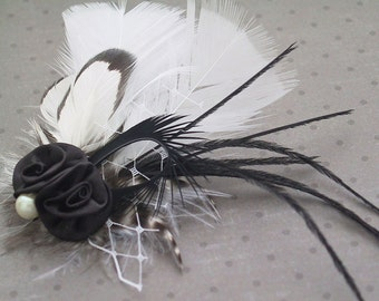 Wedding Hair Accessory, Bridal Fascinator Head Piece, Feather hair clips, bridesmaids, black, white - BLACK & WHITE BLOOM
