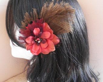 Feather fascinator, wedding, Feather Hair Clips, fascinator, flower, red, brown, bronze, burgundy - BROWN & RED FLOWER