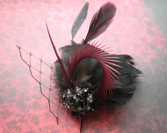 Black Feather Hair facinator, Bridal accessory, feather hair clip, french netting, red, black, valentines - Lustful Night