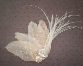 Wedding, Feather, Hair, Accessory, Fascinator, Bridal -IVORY WHISPER
