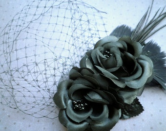 feather, Fascinator, Head Piece, Feather Hair PIece, Wedding, Hair Accessories, Black, birdcage veil, Hair Facinator - PRETTY BLACK