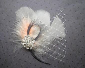 Bridal, feather, veil, fascinator, wedding, hair, accessories, feathered, clip, Ivory, Peach, Gray, Orange, facinator - PEACH PRETTY