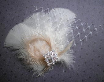Bridal, feathered, Fascinator, Head, Piece, Feather, Hair, Clip, Wedding, Accessory, ivory, peach, off white, facinator - IVORY PEACH PRETTY