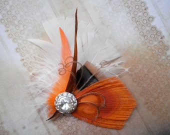 Peacock feather hair clip, Bridal, Fascinator, Head Piece, Wedding Hair Accessory, orange, brown, Ivory, accessories - ORANGE SUNSET