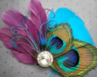 Peacock Bridal Fascinator, Feather Hair Piece, Wedding Hair Accessory, peacock feather hair clip, Purple, Teal, Blue  - PLUM PEACOCKS