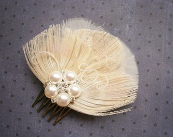 Feathered, Fascinator, Ivory, Wedding, Hair, clip, Weddings, Accessories, Peacock, Brides, Facinator, comb, bride - TRIPLE IVORY