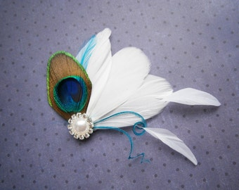 Peacock, white, Weddings, hair, accessories, Feather, Fascinator, Feathered, clip, Wedding, Accessory, Piece, Brides, teal - PEACOCK FAIRY