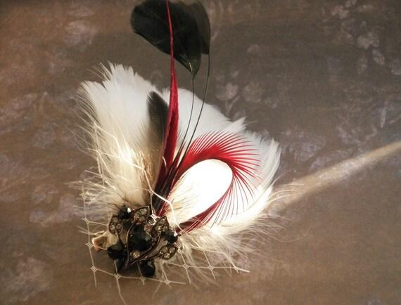 Bridal Fascinator Head Piece, Feather Hair PIece, Wedding Hair Accessory, white, black, red, burgundy, eyelash - LUSTFUL
