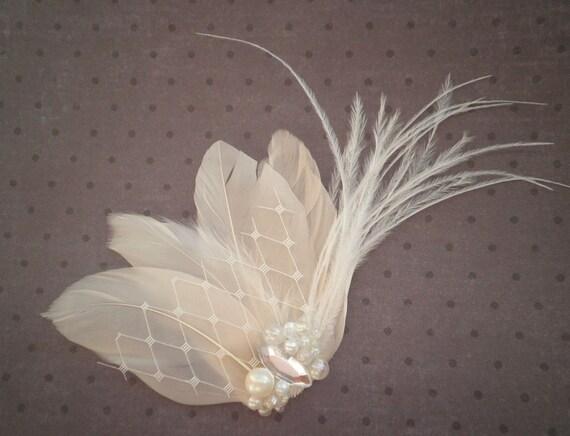 Wedding, Feather, Hair, Accessory, Fascinator, Bridal -IVORY WHISPER