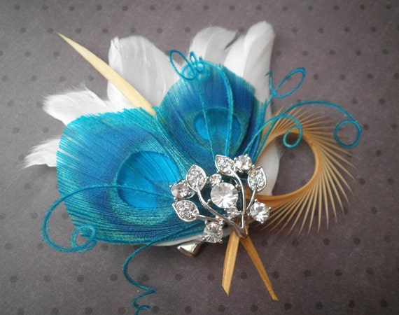 Bridal Feather Fascinator, Peacock feather hair clip, Feather Hair Piece, Wedding Hair Accessory, blue, teal, turqouise - TEAL PALMS