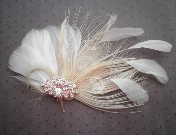 White, Ivory, weddings, facinator, Bridal, Hair, Accessories, Feather, Piece, Fascinator, Peacock, Bride, brides - WHITE PRINCESS