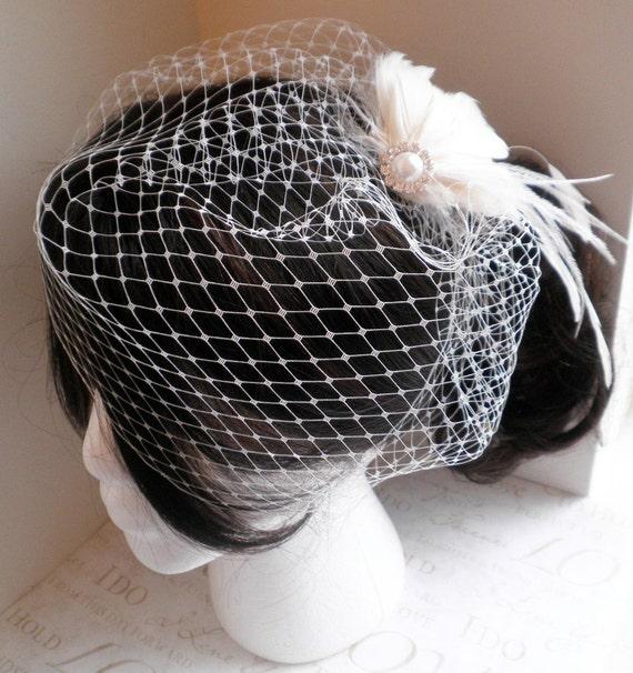 Veil, Birdcage, French, Russian, veiling, netting, white, ivory, black, 12 inch, short, bridal, Wedding, Accessory - BIRDCAGE VEIL
