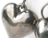 Antique silver hearts earrings