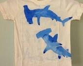 Hammer Head Sharks, organic hand painted t-shirt