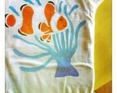 Organic Baby onesie or Childrens tshirt, handpainted Clown fish and anemone