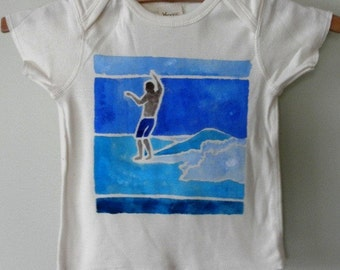 Hang Five Surfer, organic hand painted onesie or tshirt