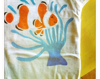 Organic Baby onesie or Childrens tshirt, handpainted Clown fish and anemone