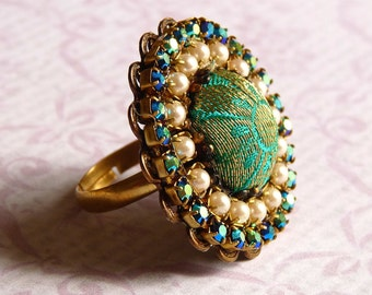 Silk brocade cocktail ring