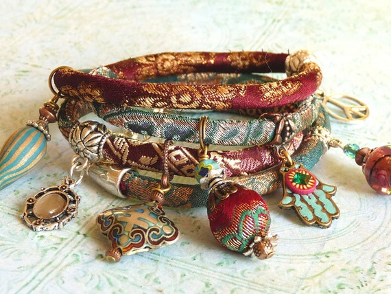Red wine brocade wrap  bracelet