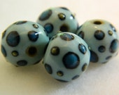 Blue and green dot blue porcelain beads, set of 4