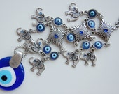 Seven Elephant Wall Hanging Amulet Handmade Turkish Silver Plated Evil Eye Bead