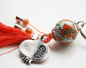 Pomegranete Key Chain Handmade Evil Eye and Turkish Ceramic Silver Plated
