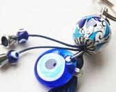 Kabbalah Evil Eye Key Chain Handmade Turkish Ceramic Silver Plated