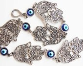 Hamsa Hand Wall Hanging Amulet Handmade Turkish Silver Plated Evil Eye Bead
