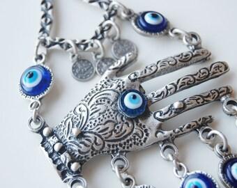 Lapis Hamsa Hand Wall Hanging Amulet Handmade Turkish Silver Plated Evil Eye Bead