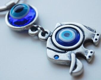 Elephant  with Evil Eye Glass Beads Handmade Silver Plated Key Chain