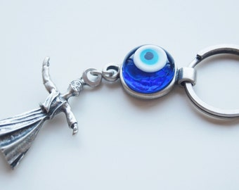 Whirling Dervish Handmade Evil Eye Silver Plated Key Chain
