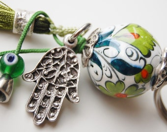 Hamsa Hand Key Chain Handmade Evil Eye and Turkish Ceramic Silver Plated