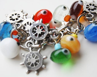 Rudder Bunch Colorful Evil Eye Key Chain Handmade Silver Plated