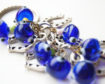Horse Shoe Bunch Blue Evil Eye Handmade Silver Plated Key Chain