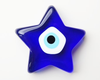 Star Glass Evil Eye Paperweight