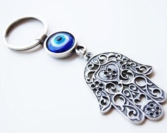 Hamsa Hand Key Chain Handmade Evil Eye Silver Plated
