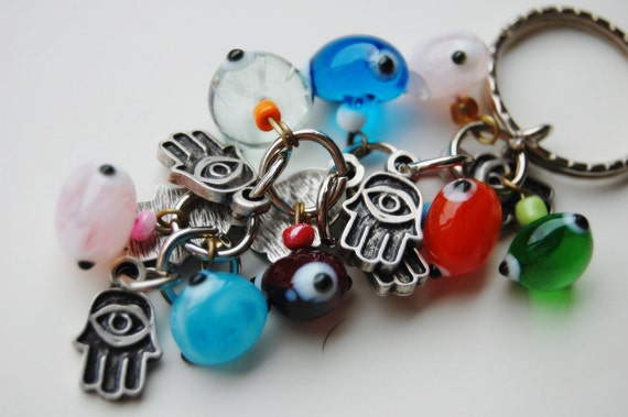 Hamsa Hand Bunch Key Chain Handmade Colorful Evil Eye Silver Plated
