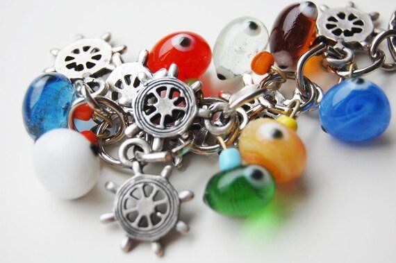 Rudder Bunch Colorful Evil Eye Key Chain Handmade Silver Plated