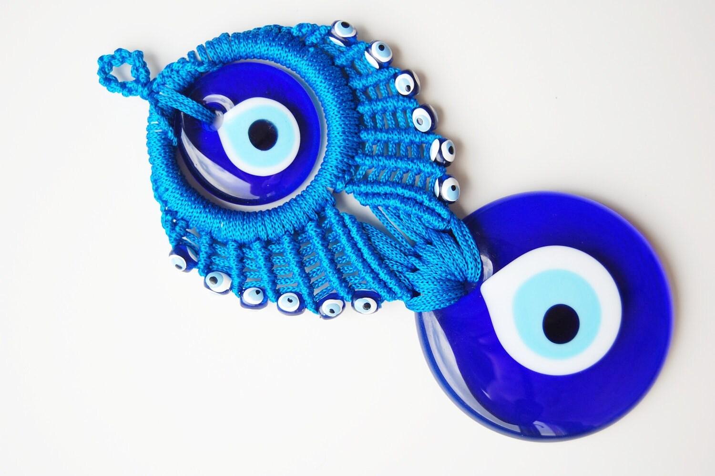 Evil Eye Decoration Wall Hanging : Blue macrame wall hanging amulet decor handmade evil eye