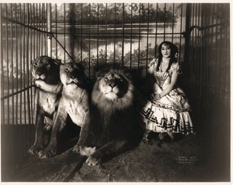 Vintage black and white photo reproduction - Carnival vintage photograph - Adjie the Lion Tamer. 8x10 Circus Photograph circa 1899. - CP401