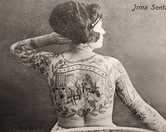 8x10 Irma Senta The Tattood Lady. Medium Size. Vintage Circus Photograph - CP403