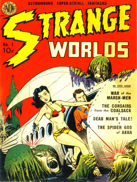 Vintage Book Cover Posters ~ Items similar to large vintage sci fi comic book print